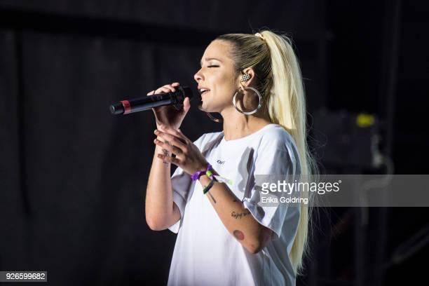 Halsey performs during Okeechobee Festival at Sunshine Grove on March 2 2018 in Okeechobee Florida