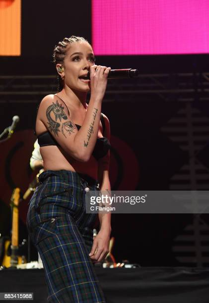 Halsey performs during the 2017 WiLD 949 FM iHeartRadio Jingle Ball at SAP Center on November 30 2017 in San Jose California