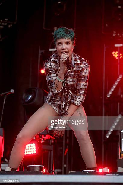 Halsey performs during the second day of the Bonnaroo Music and Arts Festival on June 10 2016 in Manchester Tennessee