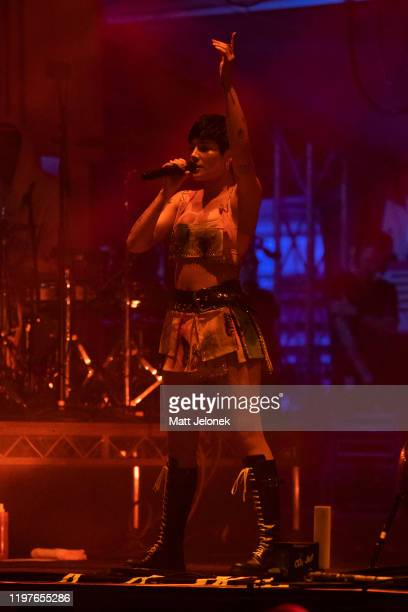 Halsey performs on stage at Falls Festival on January 5 2020 in Fremantle Australia