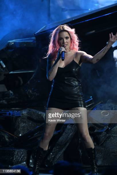 Halsey performs on stage at the 2019 iHeartRadio Music Awards which broadcast live on FOX at the Microsoft Theater on March 14 2019 in Los Angeles...