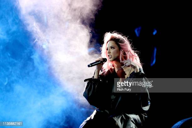 Halsey performs on stage at the 2019 iHeartRadio Music Awards which broadcasted live on FOX at the Microsoft Theater on March 14, 2019 in Los...
