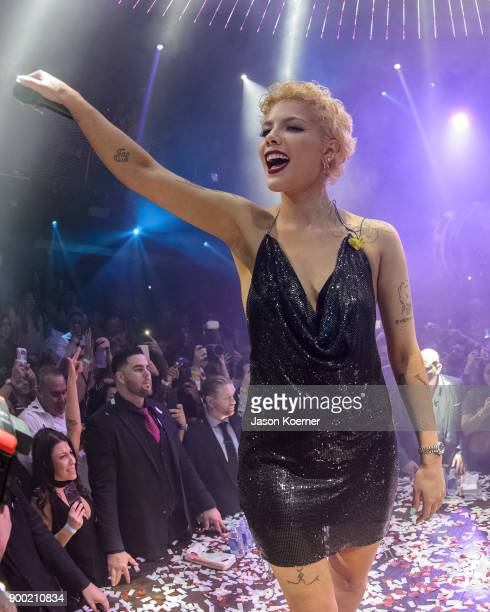 Halsey performs on stage during GEasy Halsey Ring in the New Year 2018 at E11EVEN on December 31 2017 in Miami Florida