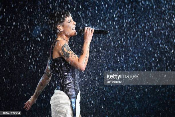 Halsey performs on stage during the MTV EMAs 2018 on November 4 2018 in Bilbao Spain