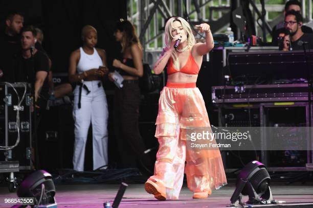 Halsey performs on stage on Day 2 of the 2018 Governors Ball Music Festival on June 2 2018 in New York City