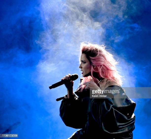 Halsey performs onstage at the 2019 iHeartRadio Music Awards which broadcasted live on FOX at Microsoft Theater on March 14 2019 in Los Angeles...