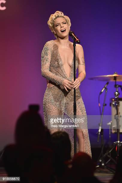 Halsey performs onstage during the 2018 amfAR Gala New York at Cipriani Wall Street on February 7 2018 in New York City
