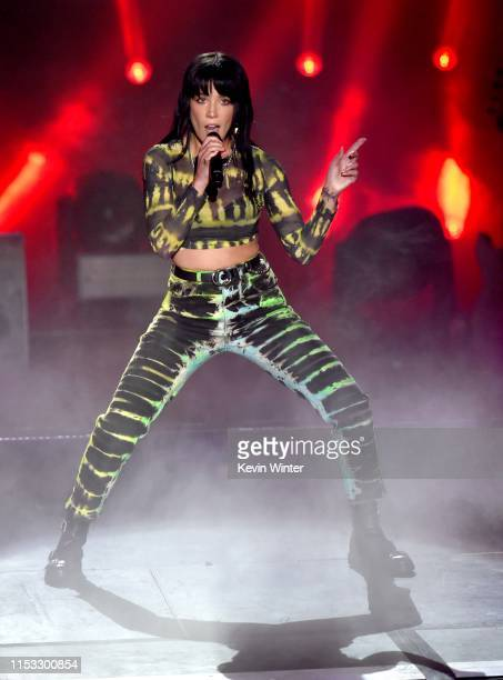 Halsey performs onstage during the 2019 iHeartRadio Wango Tango presented by The JUVÉDERM® Collection of Dermal Fillers at Dignity Health Sports Park...