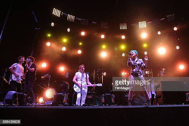 Halsey performs onstage with St Lucia at Which Stage during Day 2 of the 2016 Bonnaroo Arts And Music Festival on June 10 2016 in Manchester Tennessee