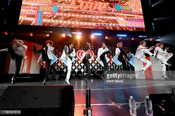Halsey performs with RM Jungkook V Jin Jimin JHope and Suga of BTS onstage during 1027 KIIS FM's Jingle Ball 2019 Presented by Capital One at the...