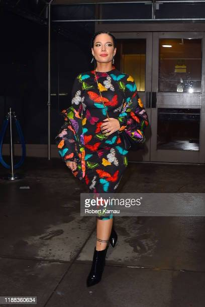 Halsey seen arrive at Madison Square Garden for Jingle Ball in Manhattan on December 13 2019 in New York City