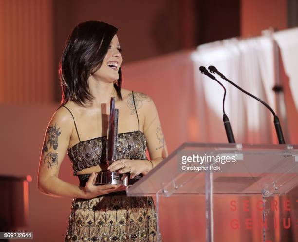 Halsey speaks onstage during Spotify's Inaugural Secret Genius Awards hosted by Lizzo at Vibiana on November 1 2017 in Los Angeles California