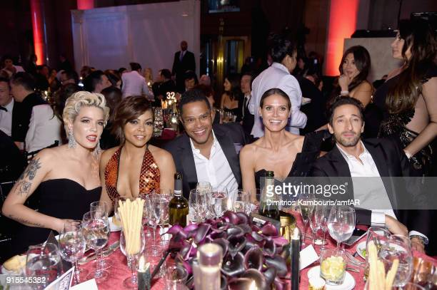 Halsey Taraji P Henson Maxwell Heidi Klum and Adrian Brody attend the 2018 amfAR Gala New York at Cipriani Wall Street on February 7 2018 in New York...