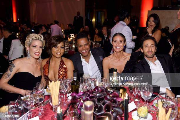 Halsey Taraji P Henson Maxwell Heidi Klum and Adrian Brody attend the 2018 amfAR Gala New York at Cipriani Wall Street on February 7 2018 in New York...