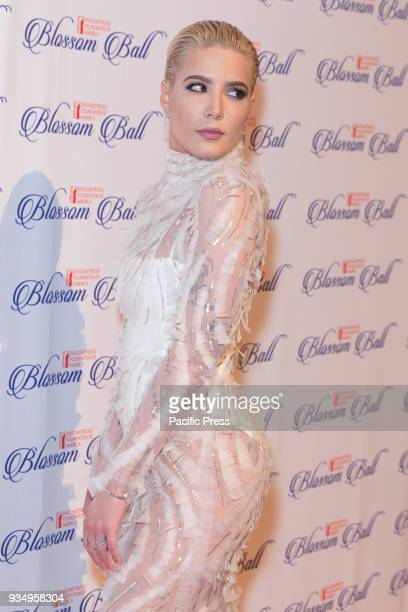 Halsey wearing dress by J Mendel attends Endometriosis Foundation of America 9th Annual Blossom Ball at Cipriani 42nd street