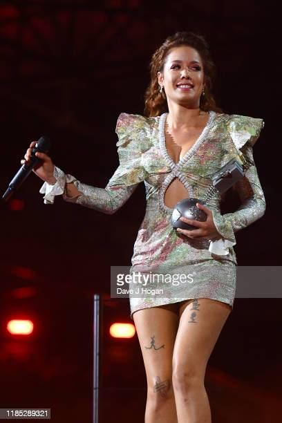 Halsey wins the Best Pop Award on stage during the MTV EMAs 2019 at FIBES Conference and Exhibition Centre on November 03 2019 in Seville Spain