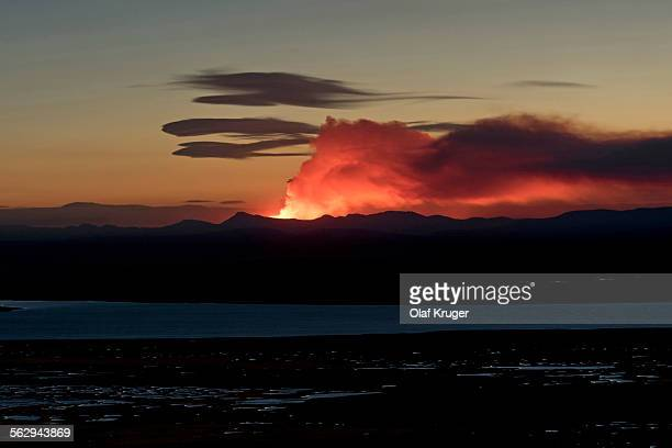 halslon reservoir, ash and gas cloud of the holuhraun fissure eruption, near the volcano baroarbunga, highlands, northeast iceland, iceland - volcanic activity stock pictures, royalty-free photos & images