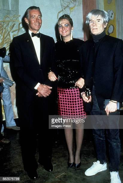 Halston, Cornelia Guest and Andy Warhol circa 1986 in New York City.