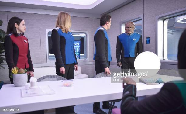 Halston Sage Adrianne Palicki Seth MacFarlane and Peter Macon in the 'Firestorm' episode of THE ORVILLE airing Thursday Nov 16 on FOX