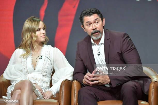 Halston Sage and Lou Diamond Phillips of Prodigal Son speak during the Fox segment of the 2019 Summer TCA Press Tour at The Beverly Hilton Hotel on...