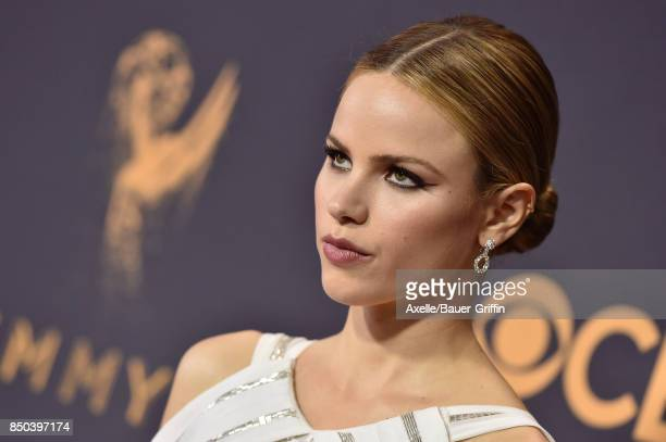 Halston Sage arrives at the 69th Annual Primetime Emmy Awards at Microsoft Theater on September 17 2017 in Los Angeles California