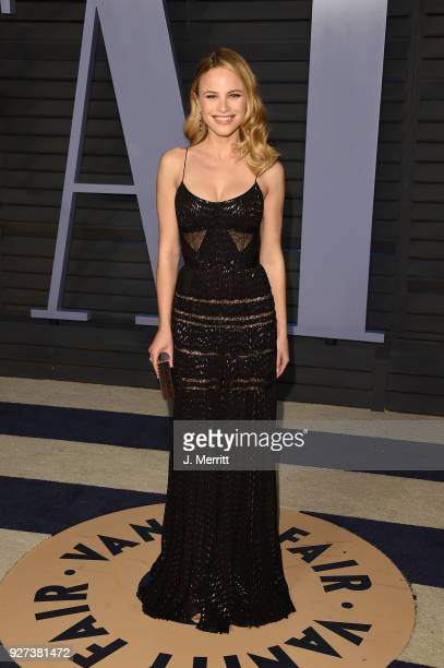 Halston Sage attends the 2018 Vanity Fair Oscar Party hosted by Radhika Jones at the Wallis Annenberg Center for the Performing Arts on March 4 2018...