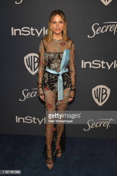 Halston Sage attends The 2020 InStyle And Warner Bros. 77th Annual Golden Globe Awards Post-Party at The Beverly Hilton Hotel on January 05, 2020 in...