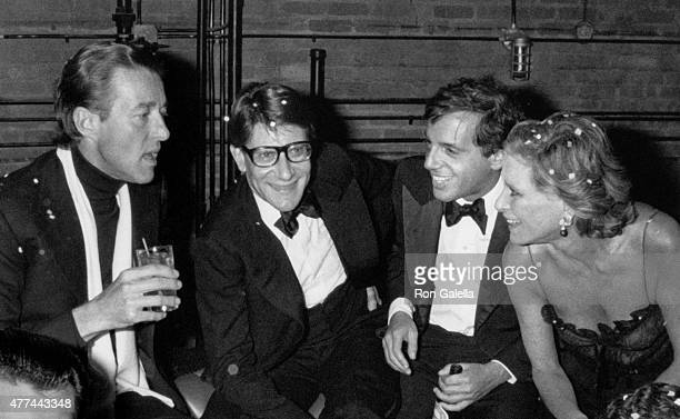 Halston Yves Saint Laurent Steve Rubell and Nan Kempner attend Opium Perfume After Party on September 20 1978 at Studio 54 in New York City