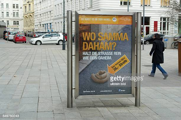Halt die Strassen rein wie Dein Daheim Werbung der Stadt Wien gegen die Verschmutzung der Strassen durch Hundekot Zuwiderhandlung wird mit 36 EURO...