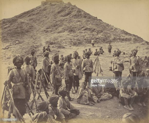 Halt of Prisoners from Bassaule, with Escort 45th Rattray's Sikhs, on the Khurd Khyber Pass, John Burke , Afghanistan, 1878 - 1879, Albumen silver...