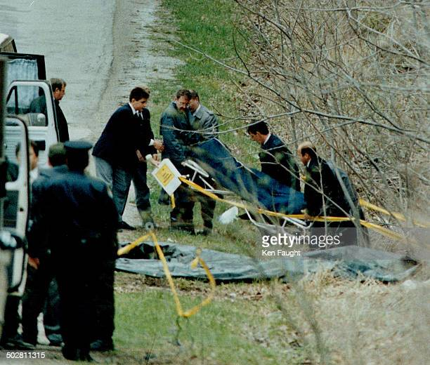 Halton and Niagara investigators help remove the body of 15yearold Kristen French inset of St Catharines found yesterday morning in north Burlington
