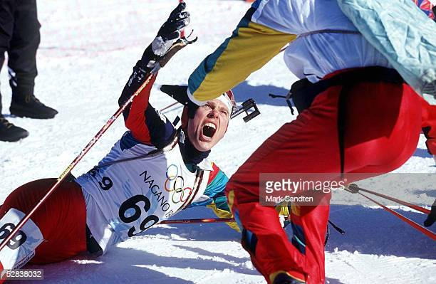 NAGANO 1998 110298 Halvard HANEVOLD GOLD 20km JUBEL OLYMPISCHE WINTERSPIELE
