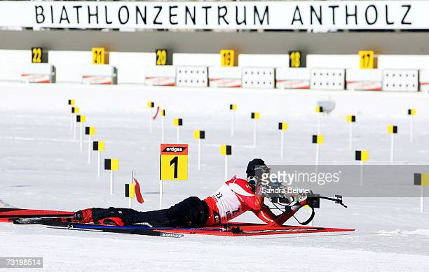 Halvard Hanevold is seen during the shooting warm up prior to the Men's 125 km Pursuit in the Biathlon World Championships on February 4 2007 in...