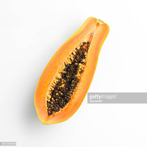 halved papaya - papaya stock photos and pictures