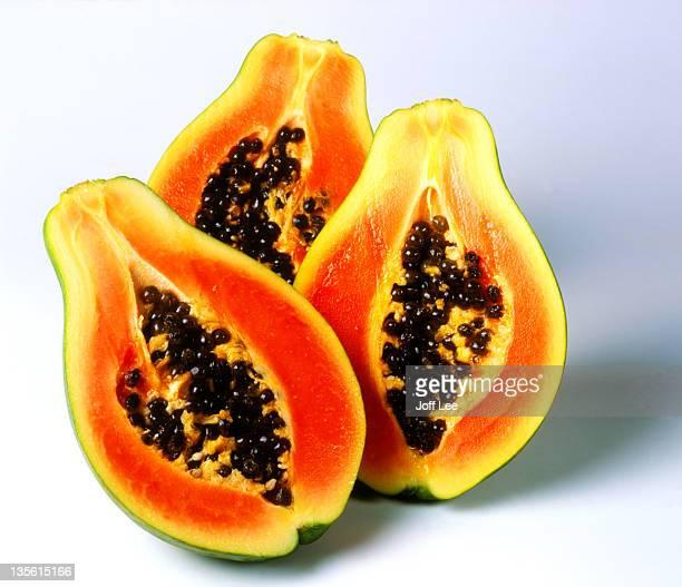 Halved papayas