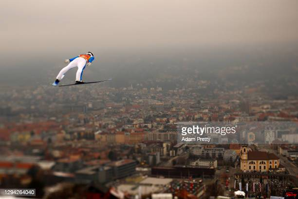 Halvor Egner Granerud of Norway soars through the air during the practice round at the Four Hills Tournament 2020 Innsbruck at Bergisel Schanze on...