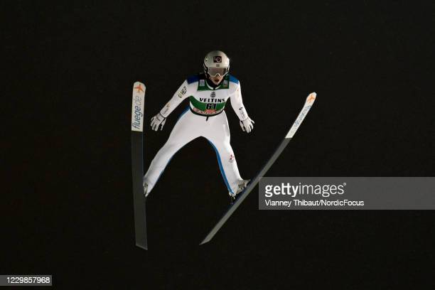 Halvor Egner Granerud of Norway takes first place during the FIS Ski Jumping World Cup at the FIS Ski Jumping World Cup Ruka at on November 29, 2020...