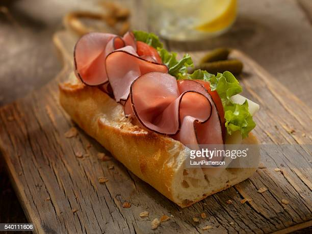 Ham and and Cheese Sandwich on a baguette