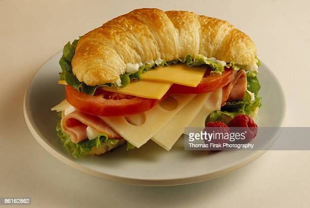 ham and cheese croissant sandwich -  firak stock pictures, royalty-free photos & images