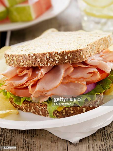 Ham and Cheese Sandwich at a Picnic