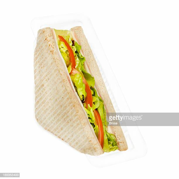 Ham and cheese sandwich in plastic package