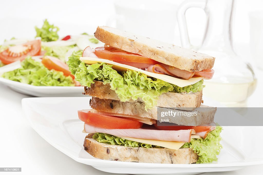 Ham and cheese sandwiches : Stock Photo