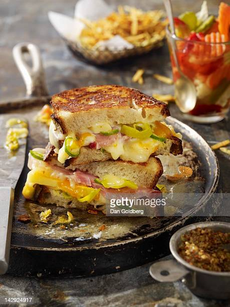 Ham and gruyere grilled cheese
