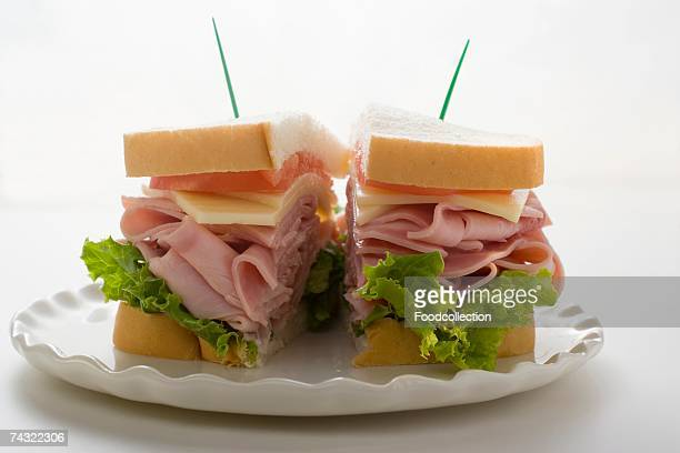 Ham, cheese and tomato sandwich (halved)