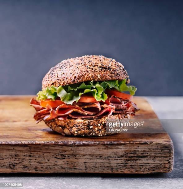 ham sandwich - portion stock-fotos und bilder