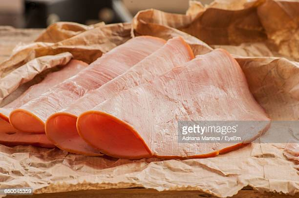 ham slices on table - ham stock pictures, royalty-free photos & images