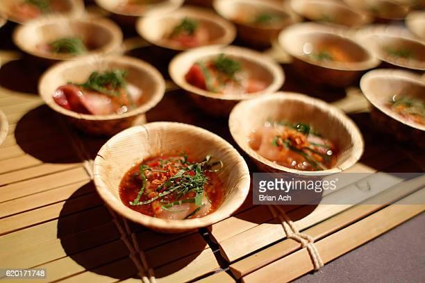 Hamachi sashimi from O Ya on displsy at the 2016 New York Taste presented by Citi hosted by New York Magazine on November 1 2016 in New York City