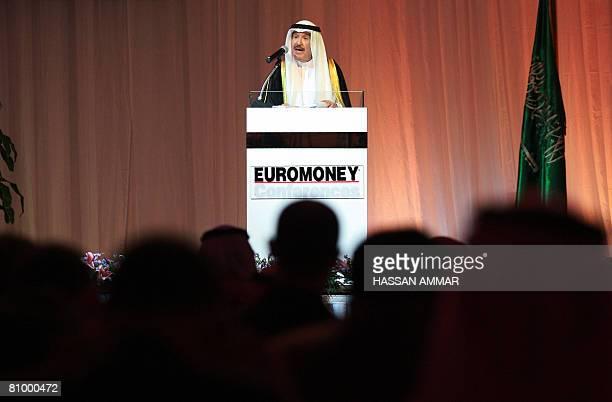 Hamad Al-Sayari, govenor of the Saudi Arabia Monetary Agency , delivers a keynote speech during the Euromoney Saudi Arabia conference in the Saudi...
