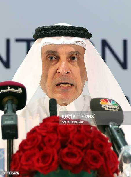Hamad International Airport's General Chief Executive Akbar alBaker speaks during a press conference after signing an agreement at the departures...