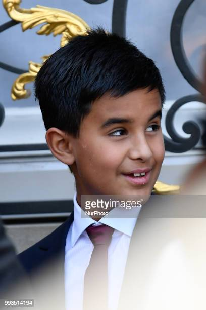 Hamad son of Qatar Sheikh Tamim bin Hamad Al Thani is pictured at the Elysee palace on July 6 in Paris